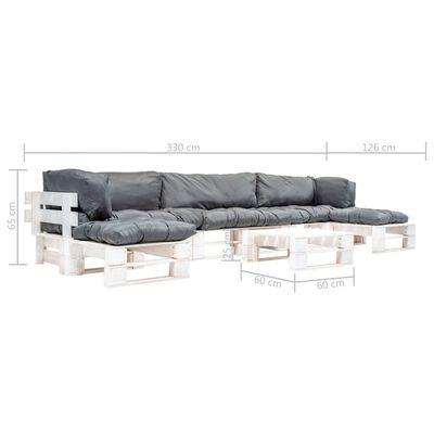 vidaXL 6-tlg. Garten-Paletten-Sofagarnitur mit Grauen Kissen Holz