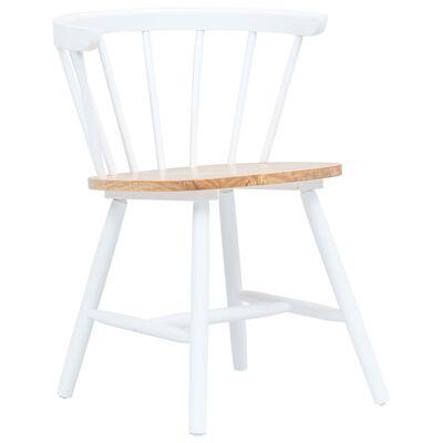 vidaXL Esszimmerstühle 6 Stk. Weiß & Helles Holz Gummibaum Massivholz