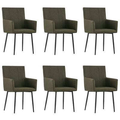 vidaXL Esszimmerstühle mit Armlehnen 6 Stk. Braun Stoff