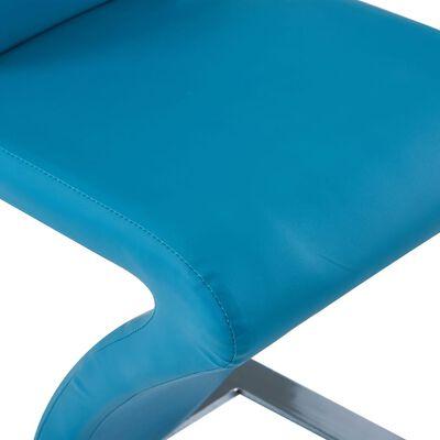 vidaXL Esszimmerstühle in Zick-Zack-Form 6 Stk. Blau Kunstleder