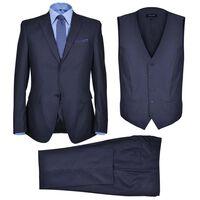 Dreiteiliger Herren-Business-Anzug Größe 46 Marineblau