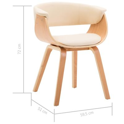 vidaXL Esszimmerstühle 2 Stk. Creme Bugholz und Kunstleder