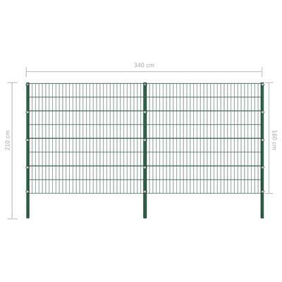 vidaXL Zaunfeld mit Pfosten Eisen 5,1 x 1,6 m Grün