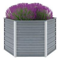 vidaXL Garten-Hochbeet Verzinkter Stahl 129x129x77 cm Grau