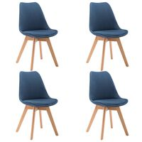vidaXL Esszimmerstühle 4 Stück Blau Stoff