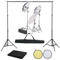 vidaXL Fotostudio-Set mit Licht-Set, Hintergrund und Reflektor