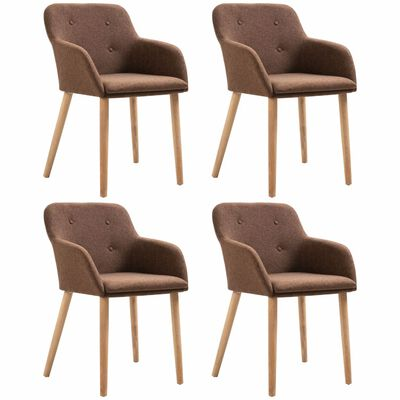 vidaXL Esszimmerstühle 4 Stk. Braun Stoff und Massivholz Eiche