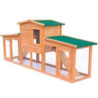 Großer Kaninchenstall Kleintierhaus Hasenstall mit Dächern Holz