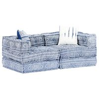 vidaXL 2-Sitzer Modulares Schlafsofa Indigo Stoff Patchwork
