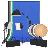 vidaXL Fotostudio-Set mit Softboxlichtern, Hintergründen und einem Reflektor