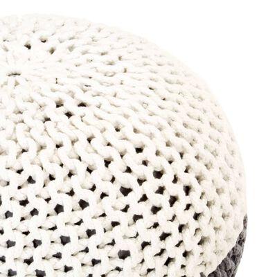 vidaXL Handgestrickter Pouf Anthrazit und Weiß 50 x 35 cm Baumwolle