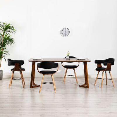 vidaXL Esszimmerstühle 4 Stk. Schwarz Kunstleder und Bugholz