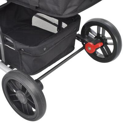 vidaXL 2-in-1 Buggy/Kinderwagen Aluminium Rot und Schwarz