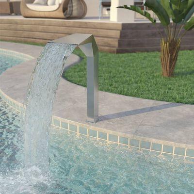 vidaXL Pool-Wasserfall Edelstahl 50x30x90 cm Silbern