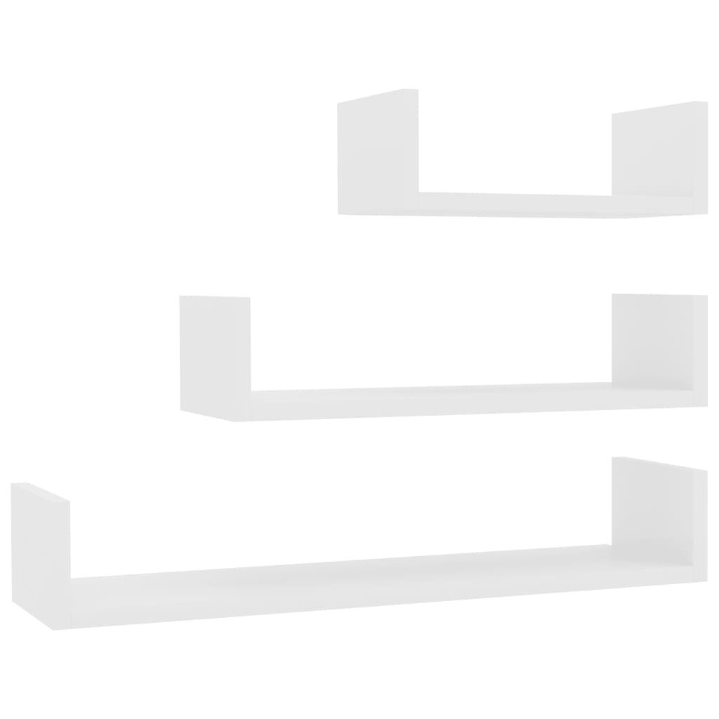 vidaXL Wandregal 3 Stk. Hochglanz Weiß Spanplatte Angebote