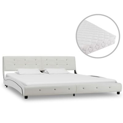 vidaXL Bett mit Matratze Weiß Kunstleder 180 x 200 cm
