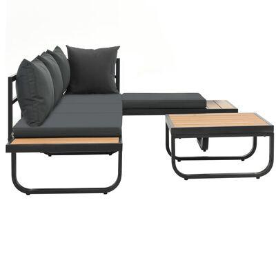 vidaXL 2-tlg. Garten-Ecksofa-Set mit Auflagen Aluminium WPC
