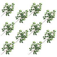 vidaXL Künstliche Blätter Ficus 10 Stk. Grün und Weiß 65 cm