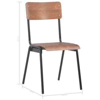 vidaXL Esszimmerstühle 4 Stk. Braun Massives Sperrholz Stahl