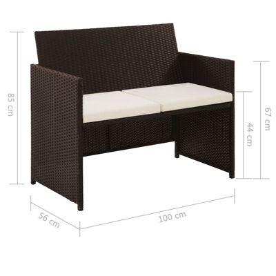 vidaXL 2-Sitzer-Gartensofa mit Polstern Braun Poly Rattan
