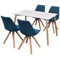 vidaXL 5-teilige Essgruppe Tisch Stühle Weiß und Blau