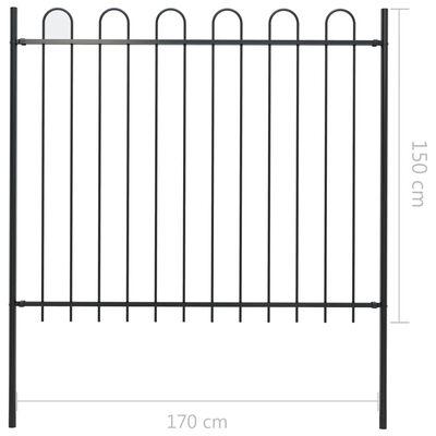 vidaXL Gartenzaun mit Bügel-Design Stahl 8,5 x 1,5 m Schwarz