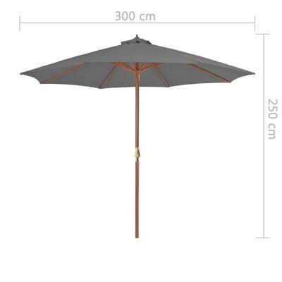 vidaXL Sonnenschirm mit Holz-Mast 300 cm Anthrazit