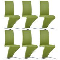 vidaXL Esszimmerstühle in Zick-Zack-Form 6 Stk. Grün Kunstleder
