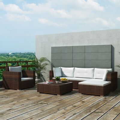 vidaXL 6-tlg. Garten-Lounge-Set mit Auflagen Poly Rattan Braun