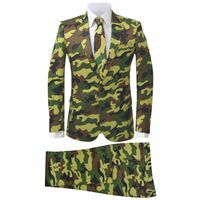 vidaXL 2-tlg. Herren-Anzug mit Krawatte Camouflage-Muster Größe 52