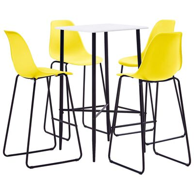 vidaXL 5-tlg. Bar-Set Kunststoff Gelb