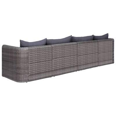 vidaXL 4-tlg. Garten-Sofagarnitur mit Kissen Grau Poly Rattan