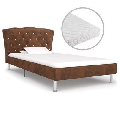 vidaXL Bett mit Matratze Braun Stoff 90 x 200 cm
