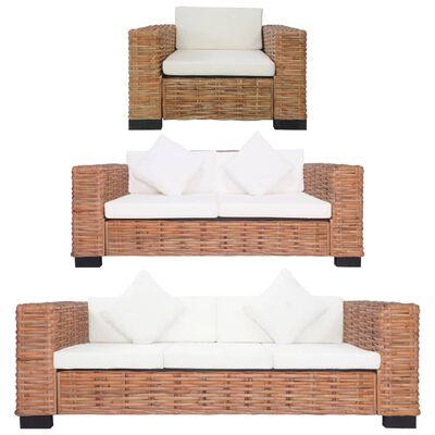 vidaXL 3-tlg. Sofagarnitur mit Auflagen Natur Rattan