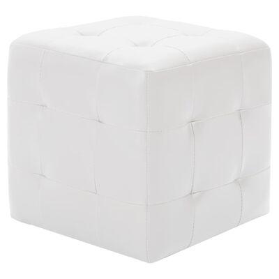 vidaXL Pouf 2 Stk. Weiß 30x30x30 cm Kunstleder