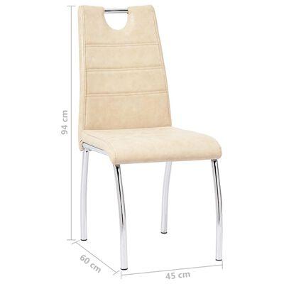 vidaXL Esszimmerstühle 6 Stk. Creme Kunstleder