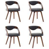 vidaXL Esszimmerstühle 4 Stk. Dunkelgrau Bugholz und Stoff