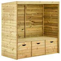 vidaXL Gartenlaube-Bank mit 3 Schubladen 170 cm Massivholz Kiefer