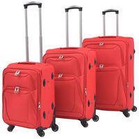 vidaXL 3-tlg. Weichgepäck Trolley-Set Rot