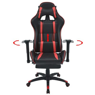 vidaXL Neigbarer Racing-Bürostuhl mit Fußstütze Rot
