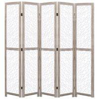 vidaXL 5-teiliger Raumteiler Weiß 175 x 165 cm Massivholz