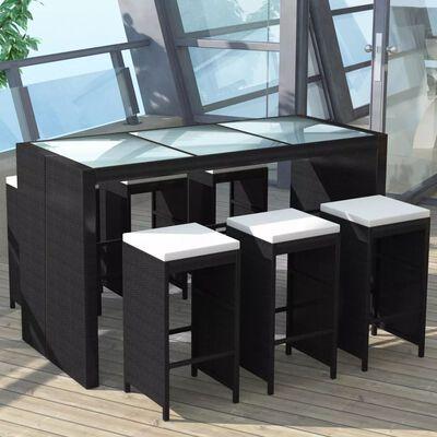 vidaXL 7-tlg. Gartenbar-Set mit Auflagen Poly Rattan Schwarz