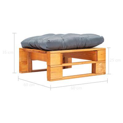 vidaXL Garten-Palettenhocker mit Grauem Kissen Holz Honigbraun