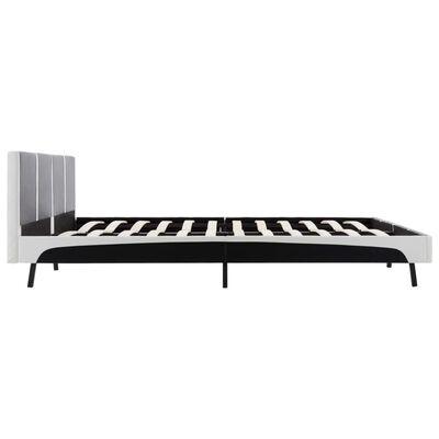 vidaXL Bett mit Matratze Schwarz und Weiß Kunstleder 160 x 200 cm