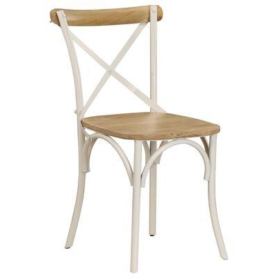 vidaXL Esszimmerstühle 4 Stk. Weiß Mango-Massivholz