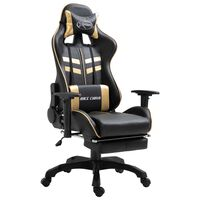 vidaXL Gaming-Stuhl mit Fußstütze Golden Kunstleder