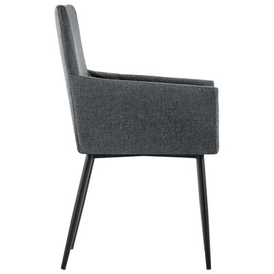 vidaXL Esszimmerstühle mit Armlehnen 4 Stk. Dunkelgrau Stoff