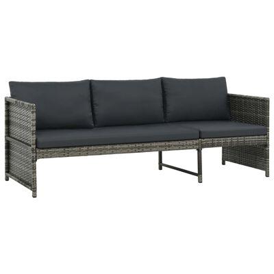 vidaXL 3-tlg. Garten-Lounge-Set mit Auflagen Poly Rattan Grau
