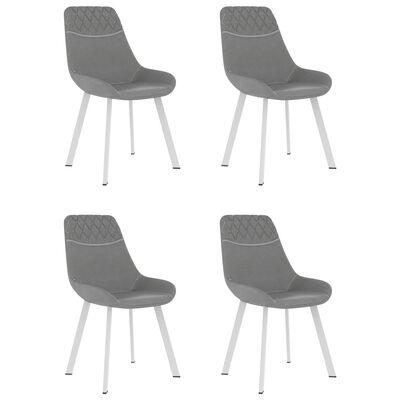 vidaXL Esszimmerstühle 4 Stk. Hellgrau Kunstleder