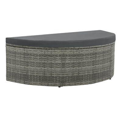 vidaXL 2-Sitzer-Gartensofa mit Auflagen und Sonnenschirm Grau Poly Rattan